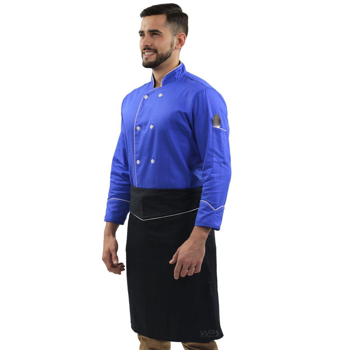 Kit Dólmã Chef de Cozinha Azul Elegance Avental de Cintura Preto