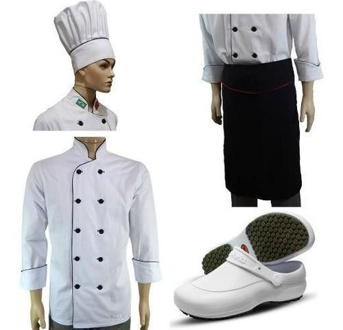 Kit Dólmã Para Chef de Cozinha + Touca Avental e Sapato Antiderrapante
