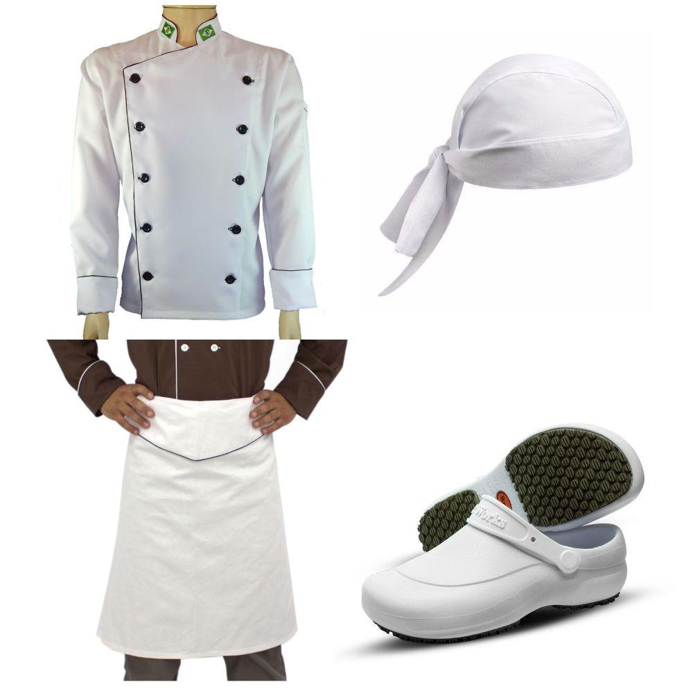 Kit Uniforme Para Chef de Cozinha com Avental e Sapato Antiderrapante