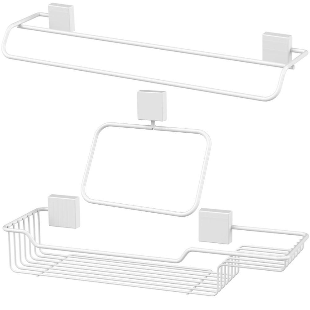Kit Future 3 Peças Banheiro Fixação Parafuso - Branco