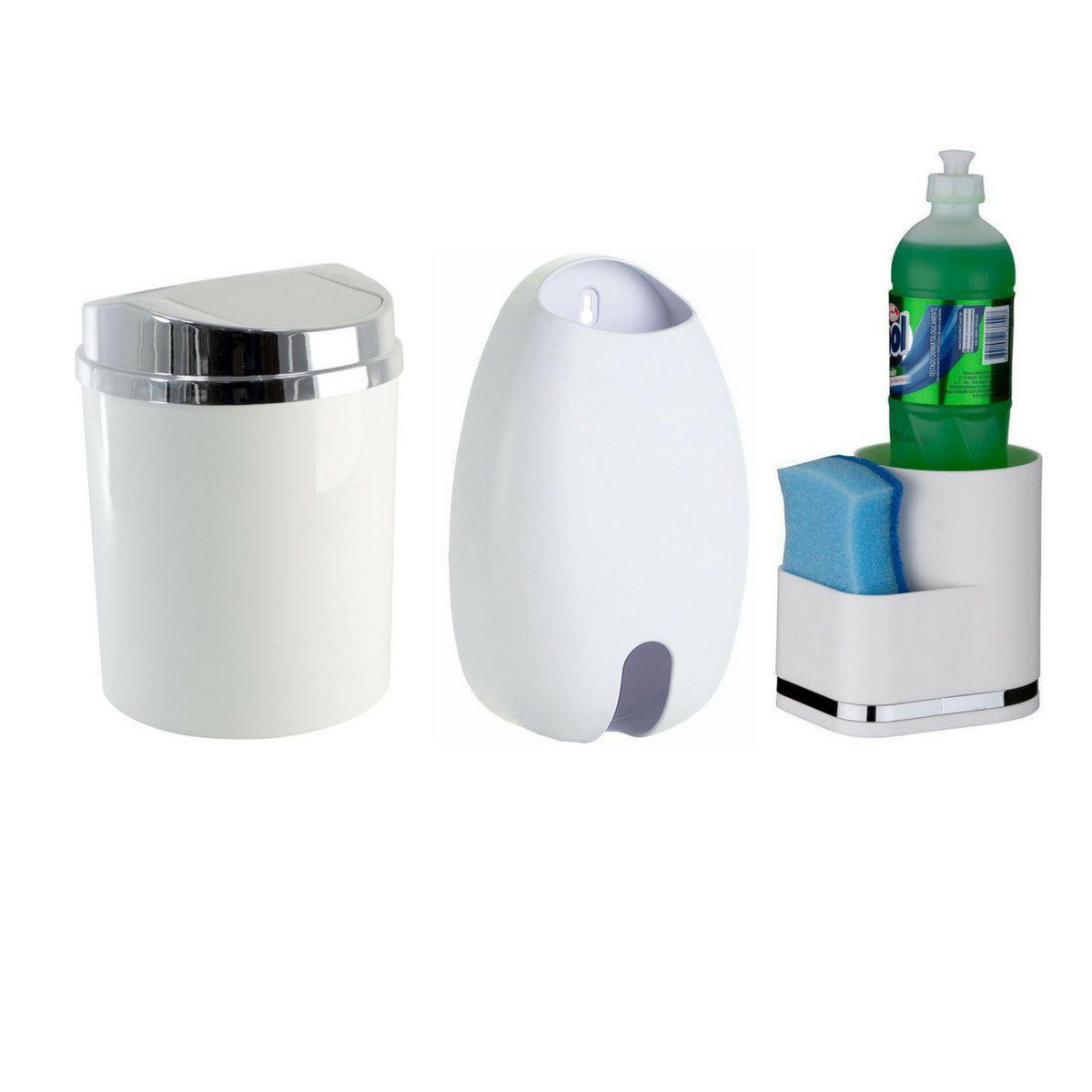 Kit lixeira basculaste + suporte detergente+  suporte sacolas