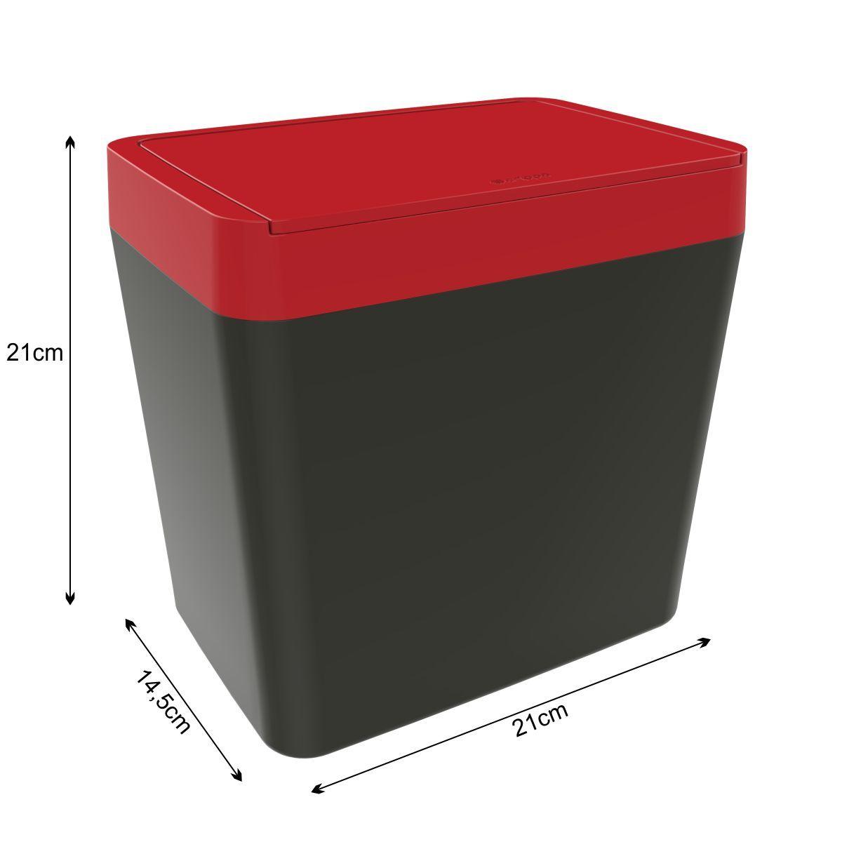 Kit Lixeira + Organizador de Pia - Chumbo com Vermelho
