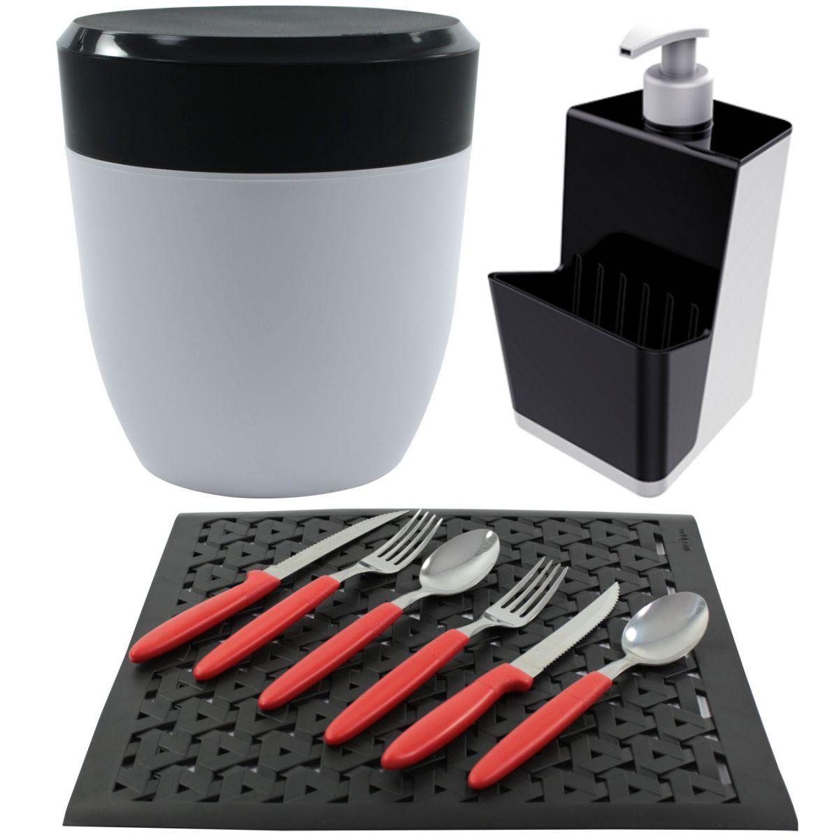 Kit Lixeirinha Dispenser Detergente Grade de Pia Cozinha - Cores