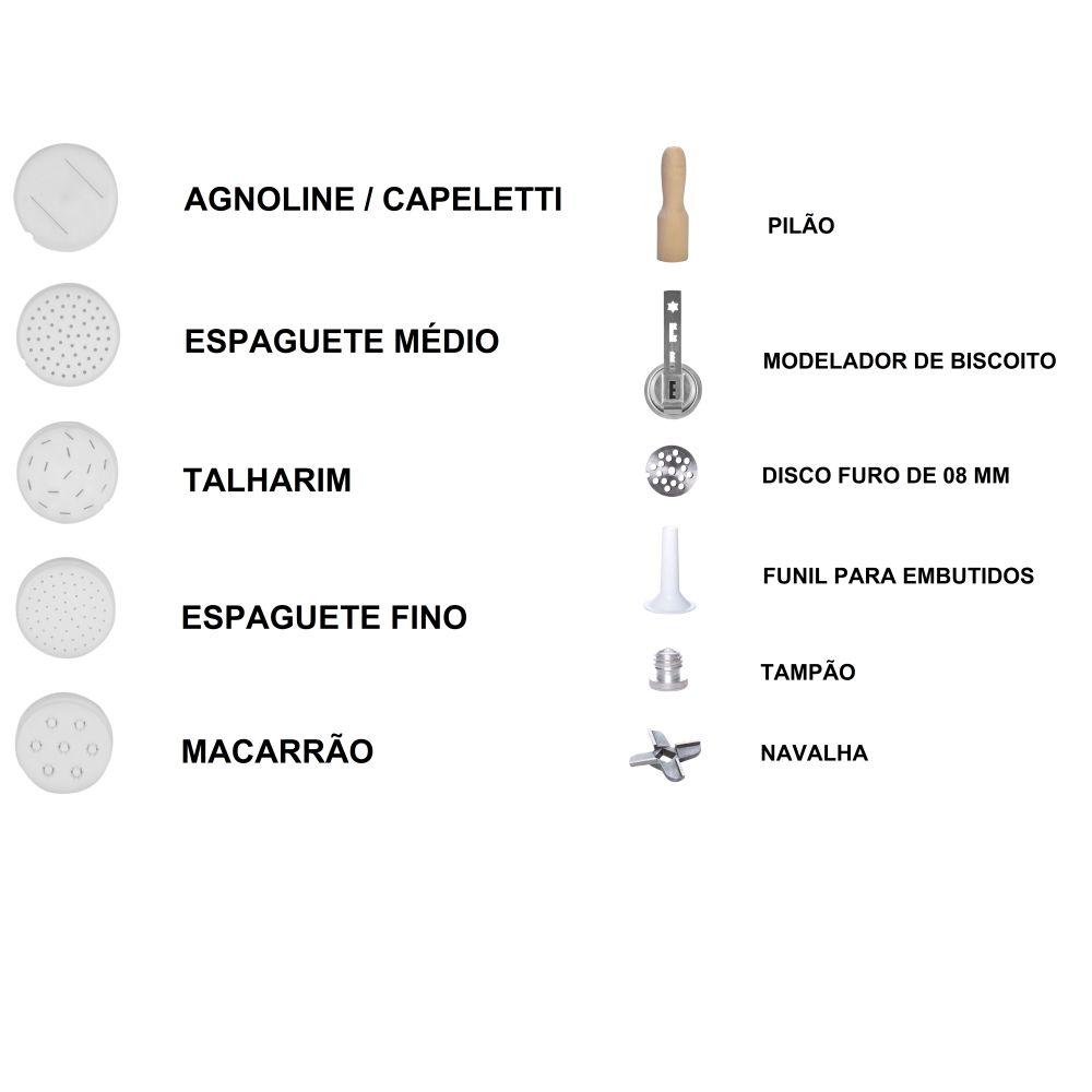 Kit Cilindro Com 4 Funções: laminar, extrusar, moer e misturar - Champagne