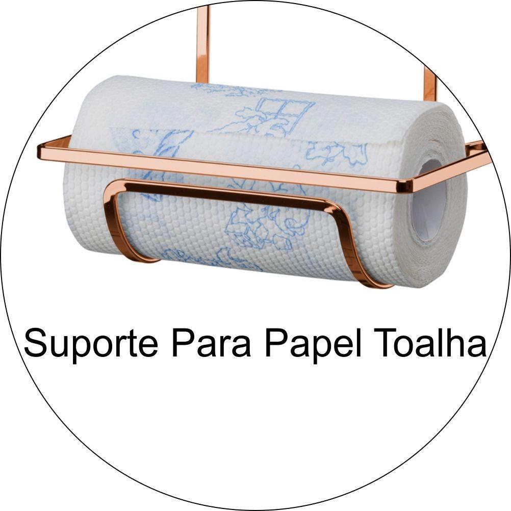 Kit Organização de Cozinha Com 2 Suportes P/ Barra Suspensa