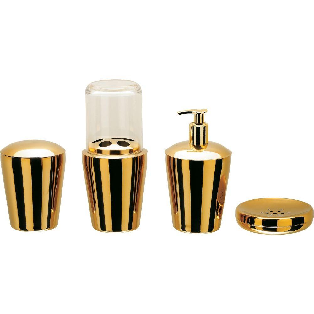 Kit Organizador P/ Banheiro Spa Golden 4 Peças Aço Inox - Dourado