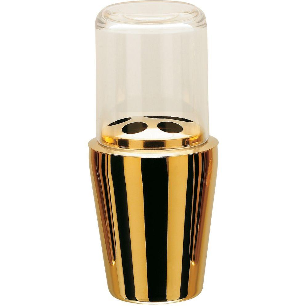 Kit Organizadores Porta Escova + Dispenser Sabonete Liquido - Dourado