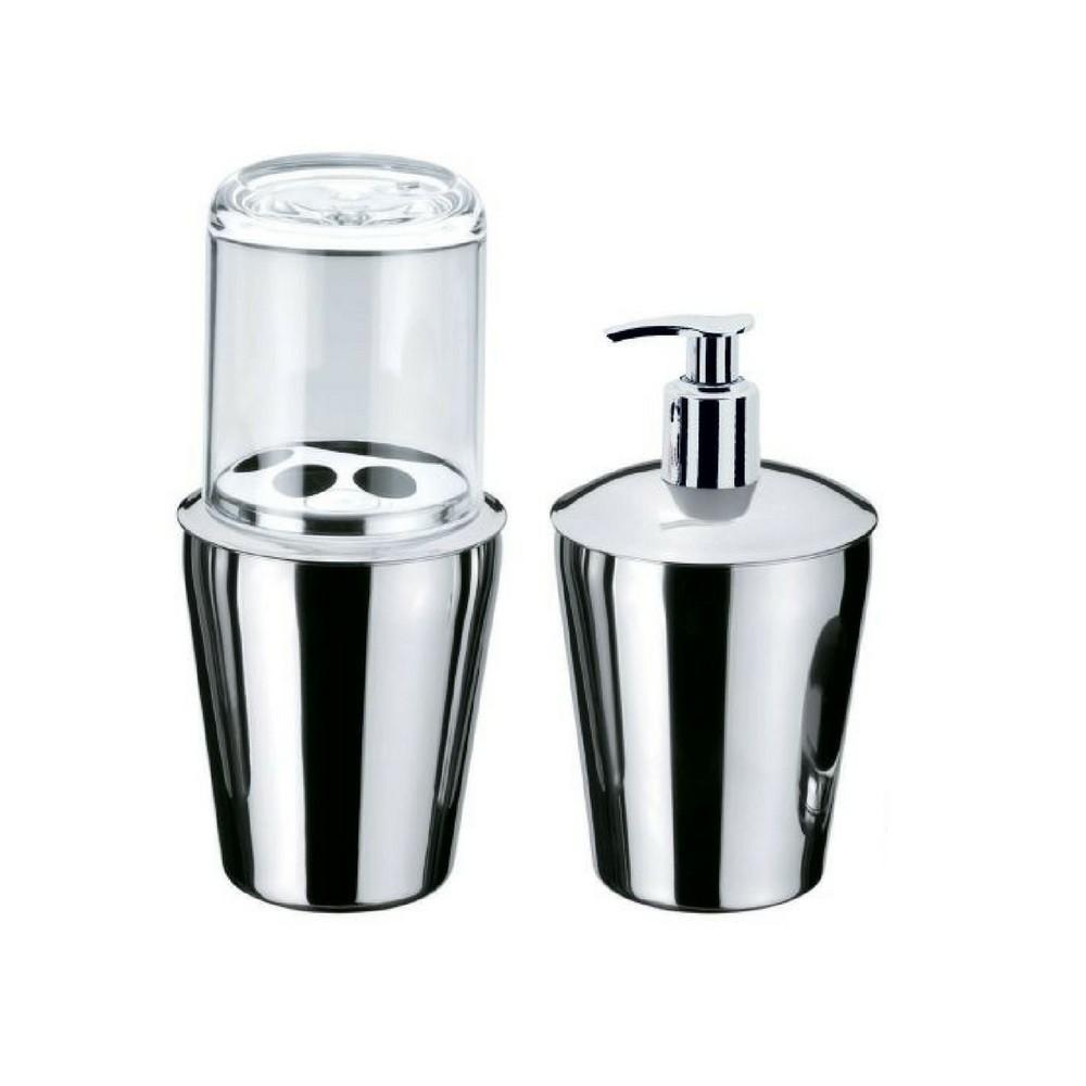 Kit Organizadores Porta Escova + Dispenser Sabonete Liquido - Prata
