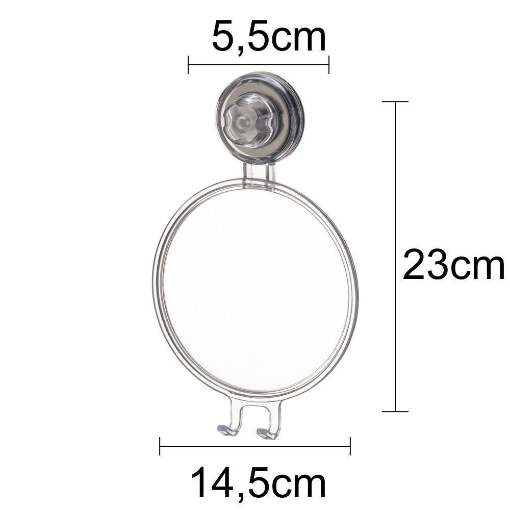 Conjunto Para Banheiro 5 peças Com Espelho Fixação Ventosa ABS Incolor