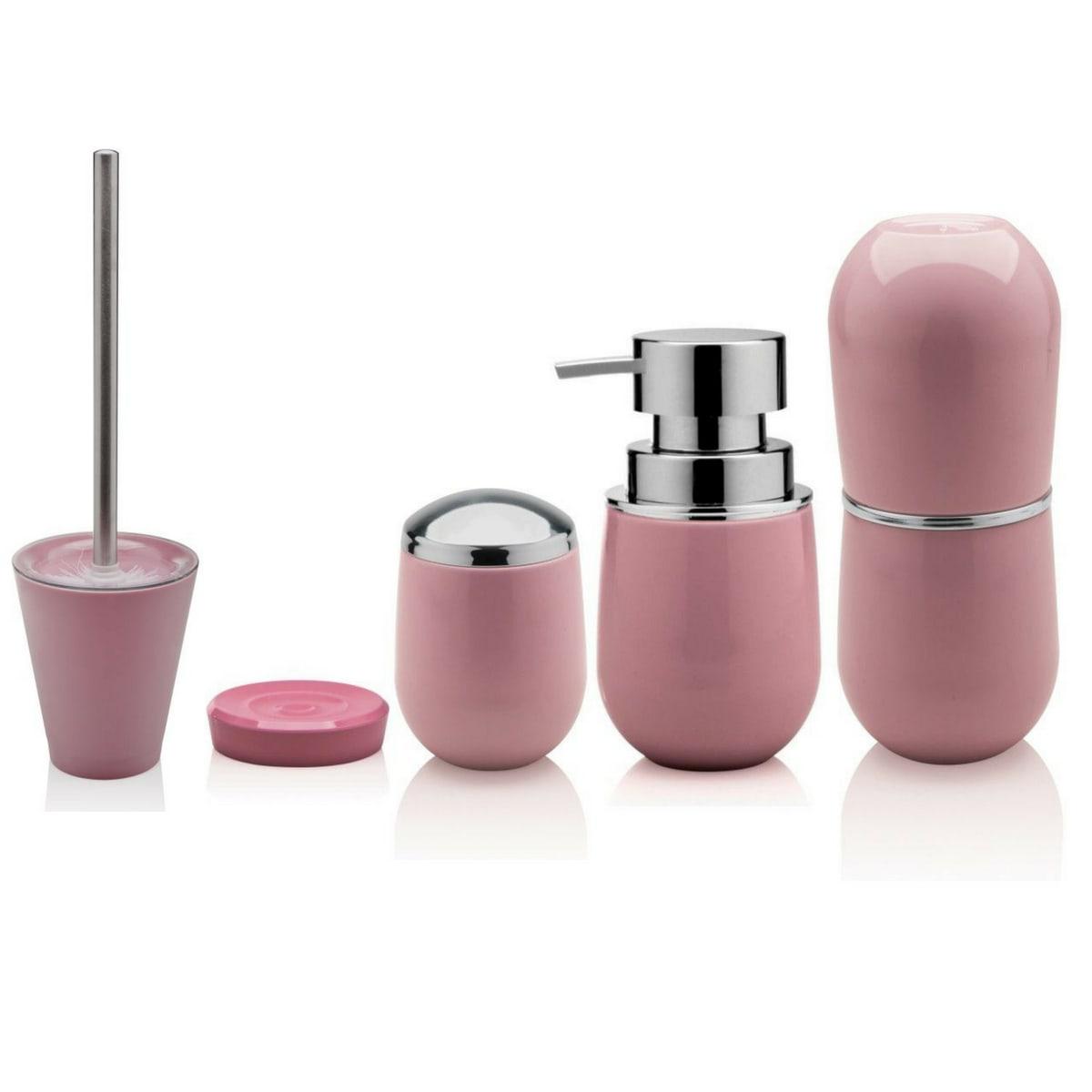 Kit Para Banheiro 5 peças cor rosa