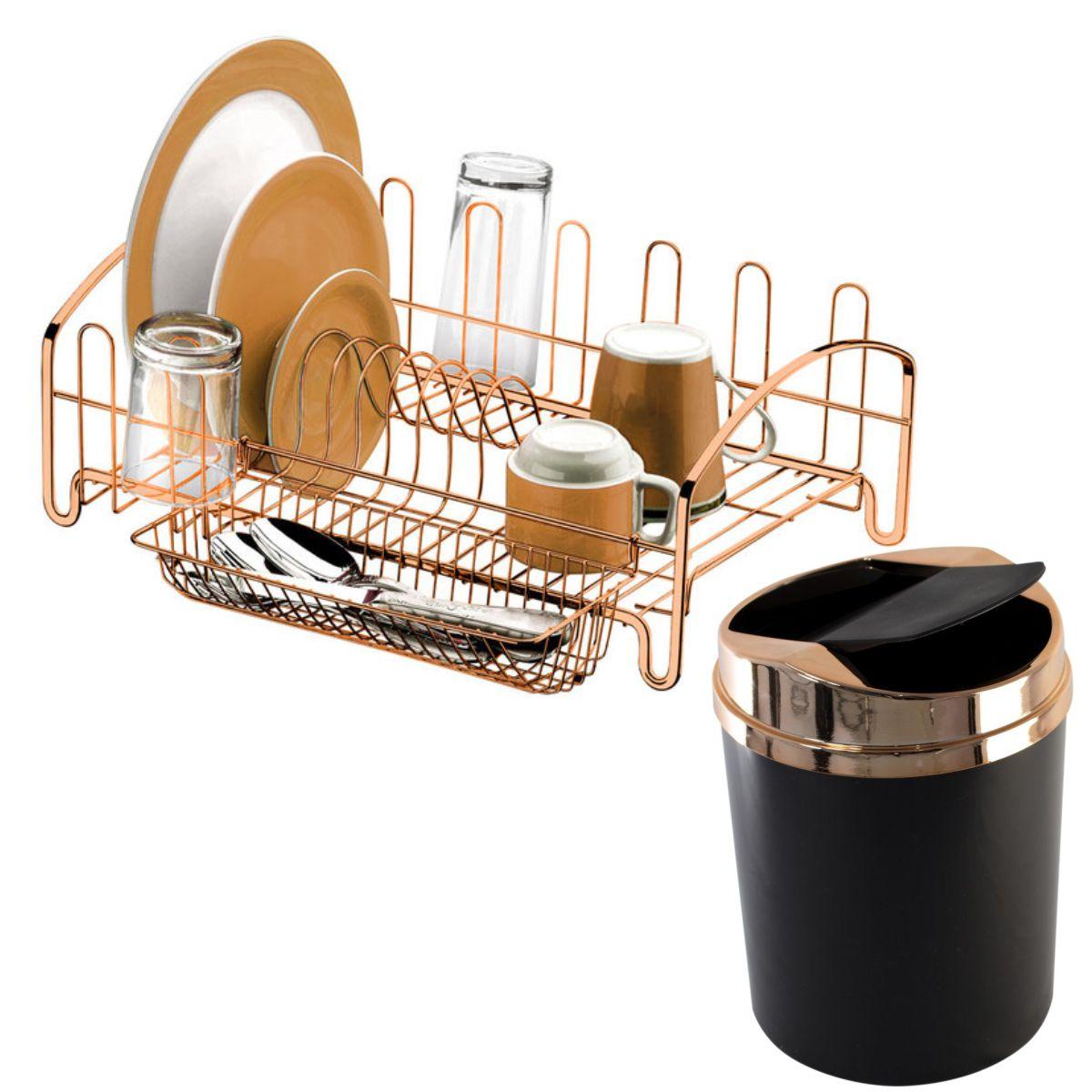 Kit Pia Cozinha Rosé Gold Lixeira Basculante 5L e Escorredor Pratos e Copos