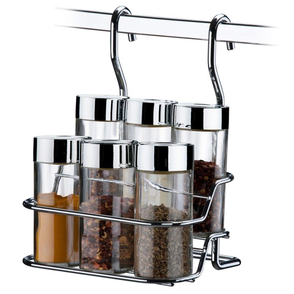 Kit Porta Condimentos e Suporte temperos para barra de Cozinha