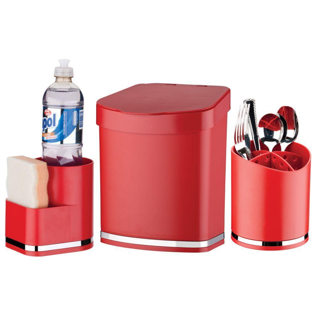 Kit Porta Detergente/Esponja C/ Escorredor Talheres Lixeira
