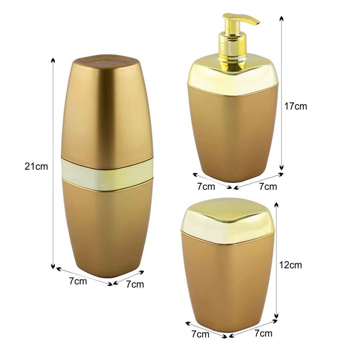 Kit Porta Escova Algodão Sabonete Líquido Lavabo Luxo