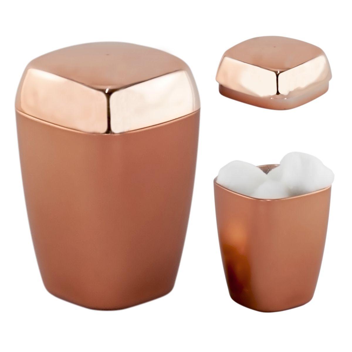 Kit Porta Escova Algodão Sabonete Líquido Rosé Gold