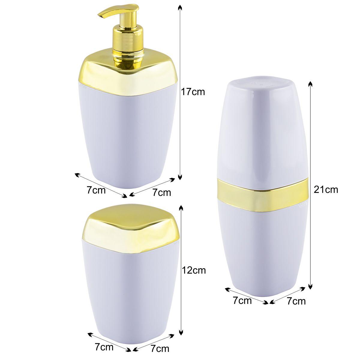 Kit Porta Escova Sabonete Líquido Algodão Dourado Luxo