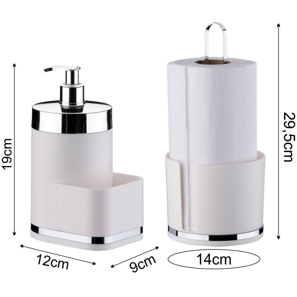 Kit Porta Rolo Papel Toalha Dispenser Detergente Esponja
