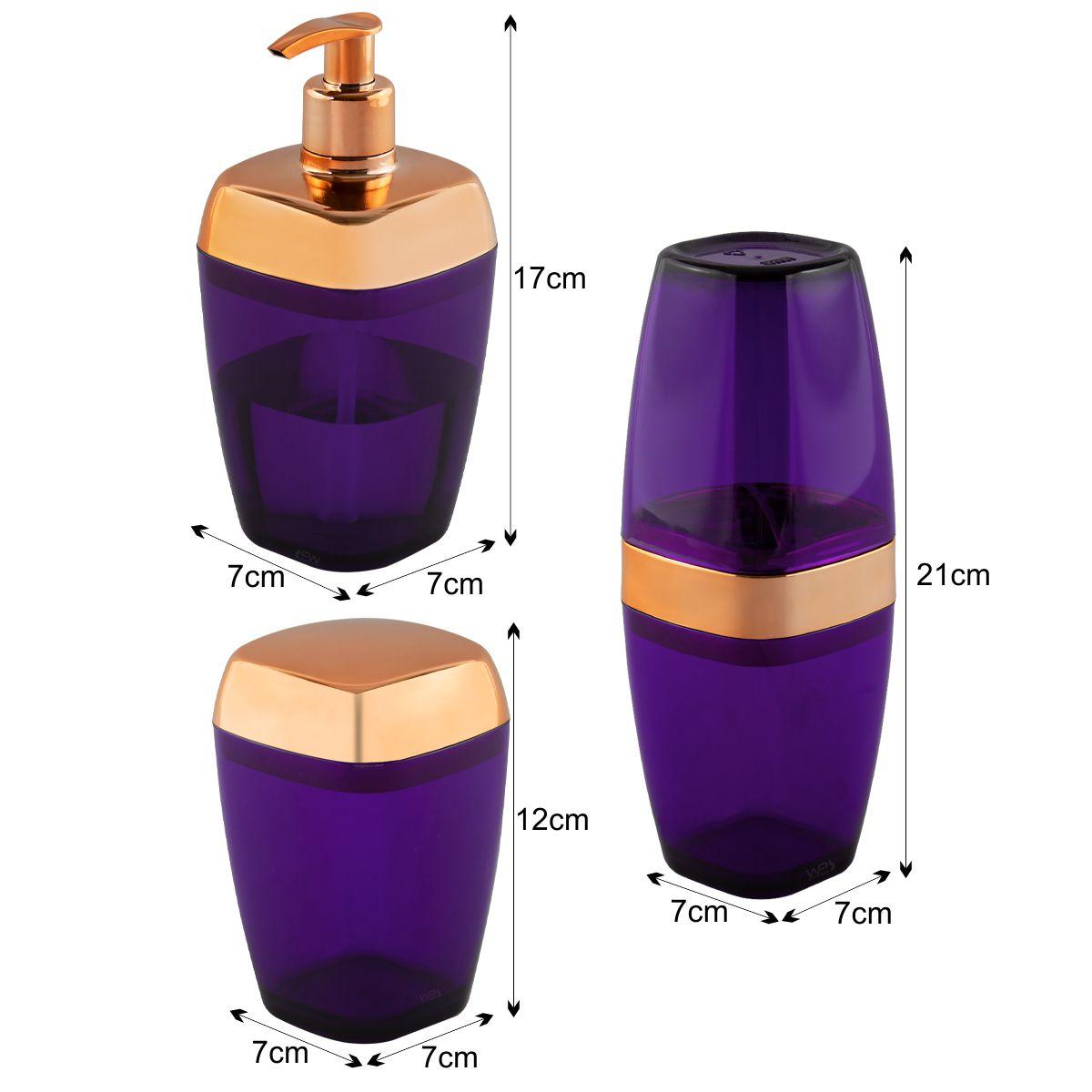 Kit Porta Sabonete Líquido Escova e Algodão Translúcido Rosé Gold