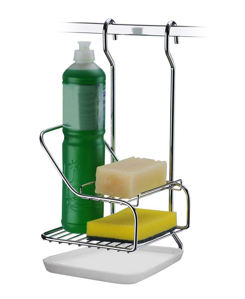 Kit Suporte Detergente Escorredor e Esponja Para barra Cozinha