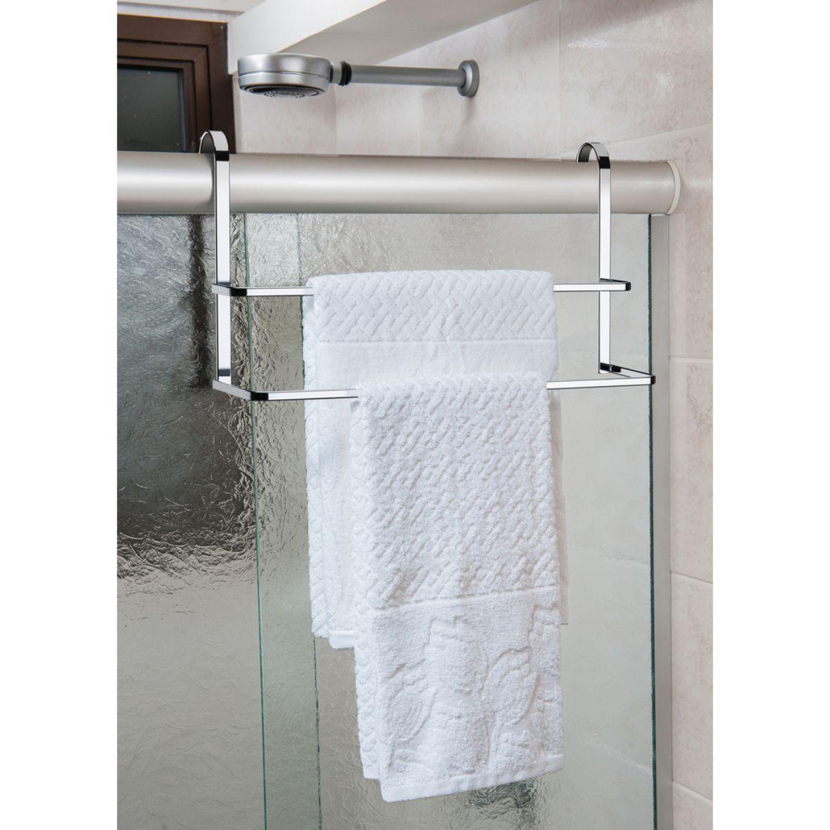 Kit Suporte Para Shampoo Sabonete Toalheiro Duplo 45cm de Box Cromado