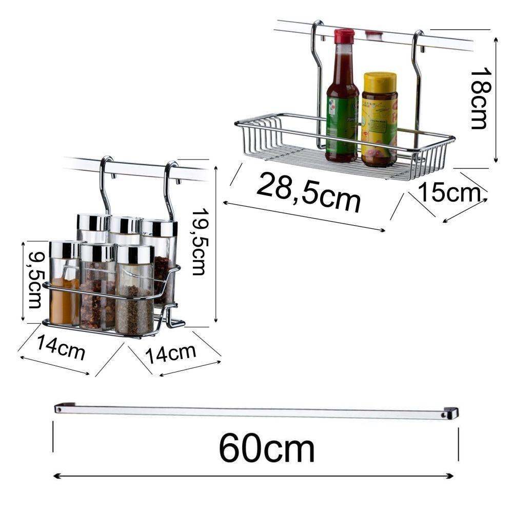 kit Suporte Temperos e Condimentos com barra 60cm
