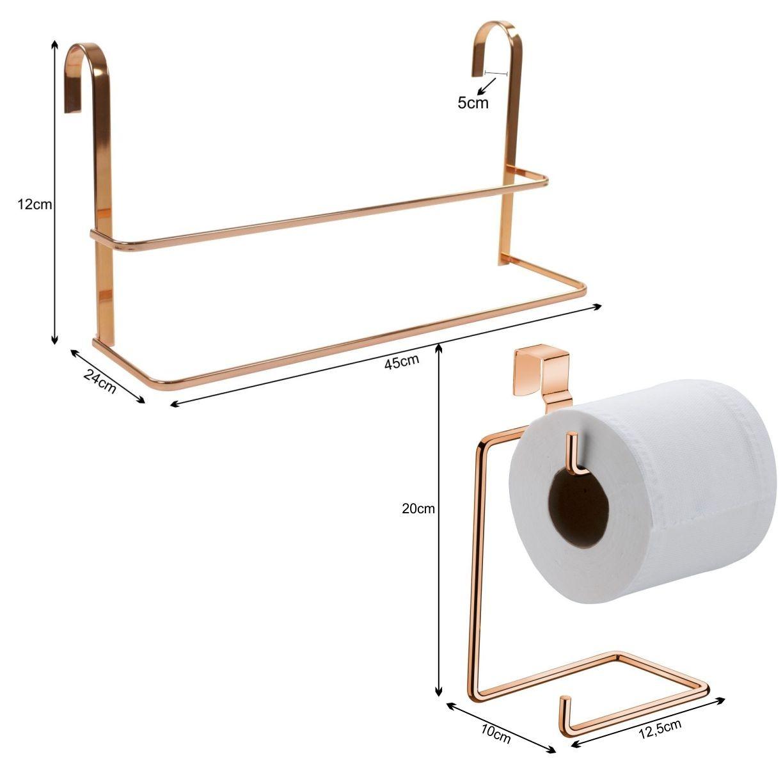 Kit Toalheiro de Box Suporte Papel Higiênico Caixa de Descarga Cobre