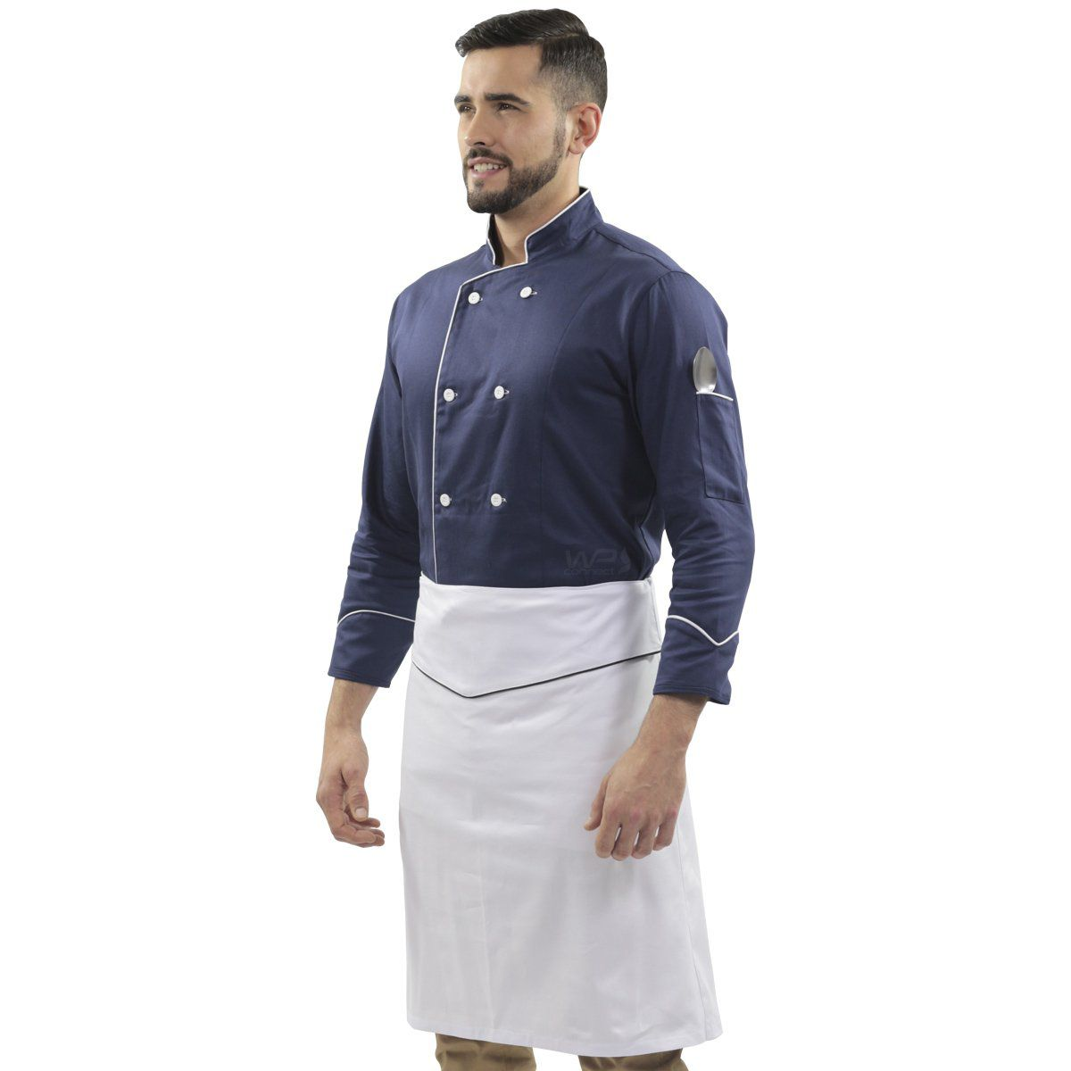 Kit Uniforme de Chef Dólmã Azul Blueberry Avental de Cintura Branco