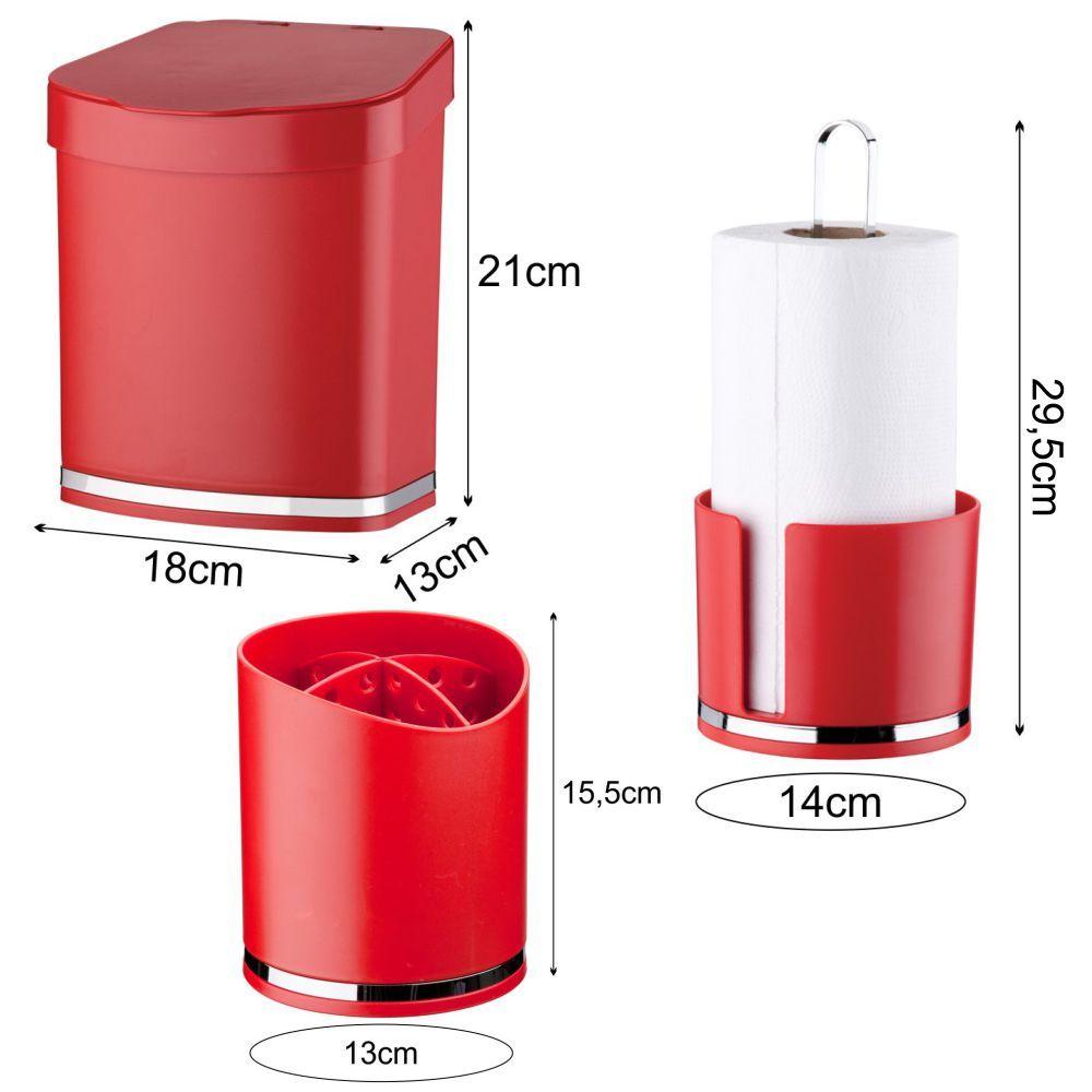 Lixeira 2,5 Litros C/ Escorredor de Talheres Porta Rolo Papel Toalha
