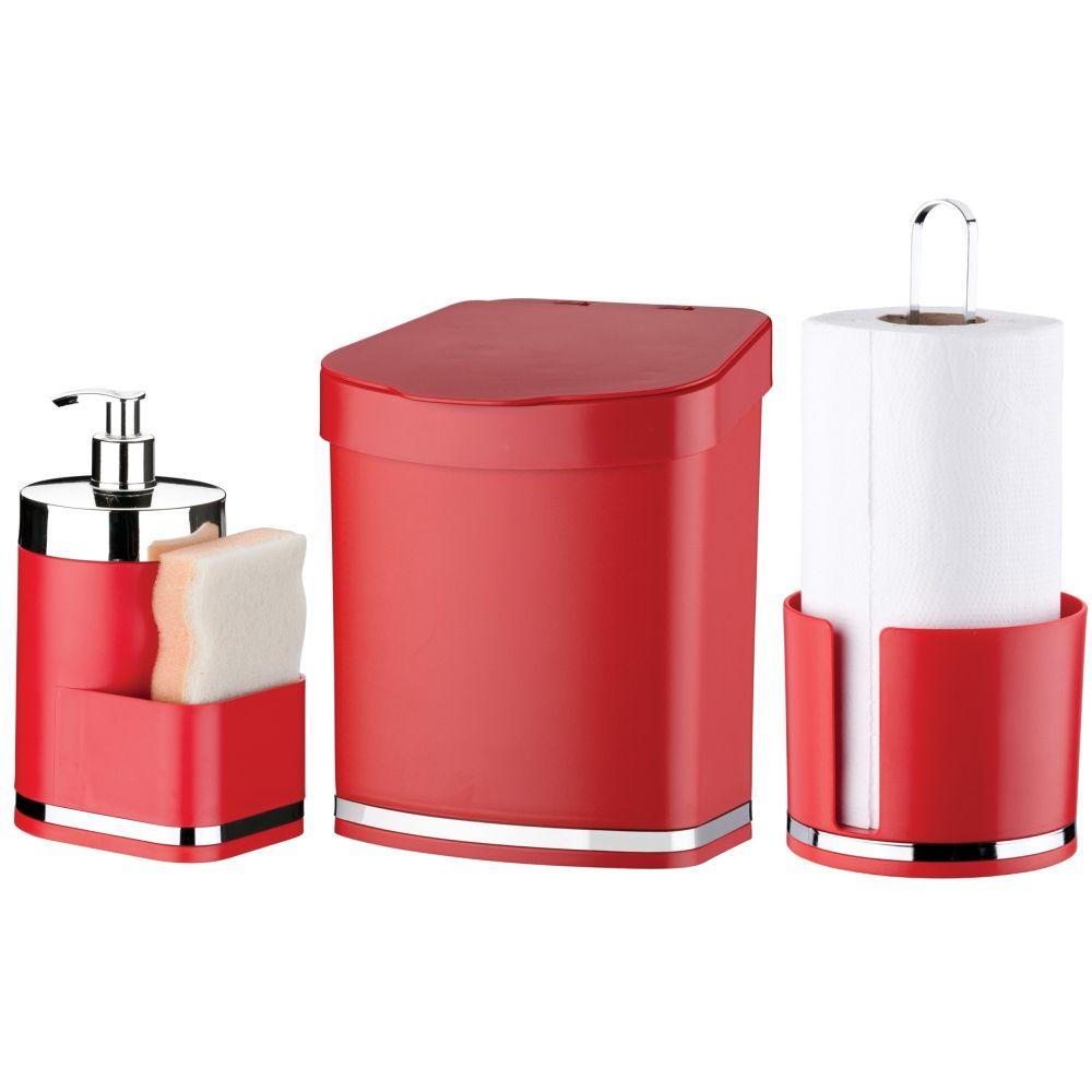 Lixeira 2,5 Litros C/ Porta Papel Toalha Dispenser Detergente