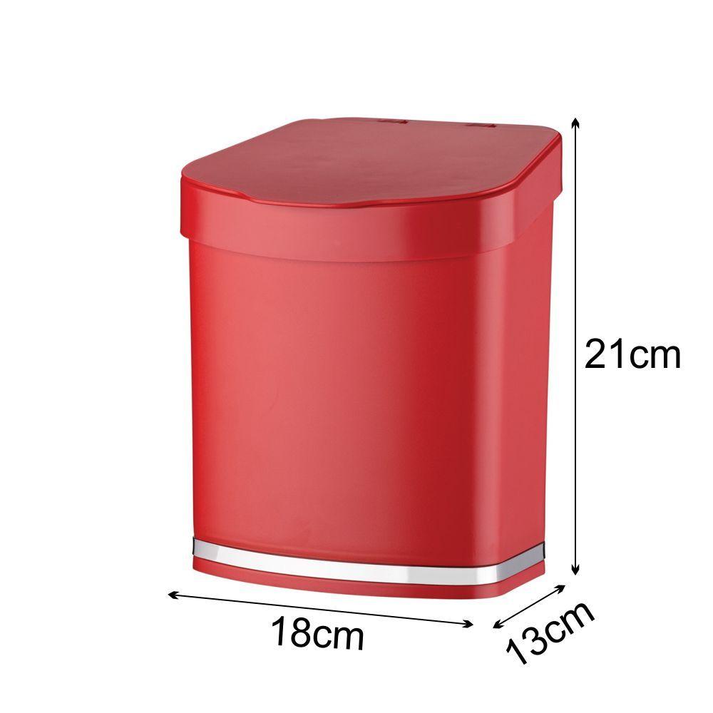 Lixeira 2,5 litros Em Plástico PS Eleganza - Vermelha