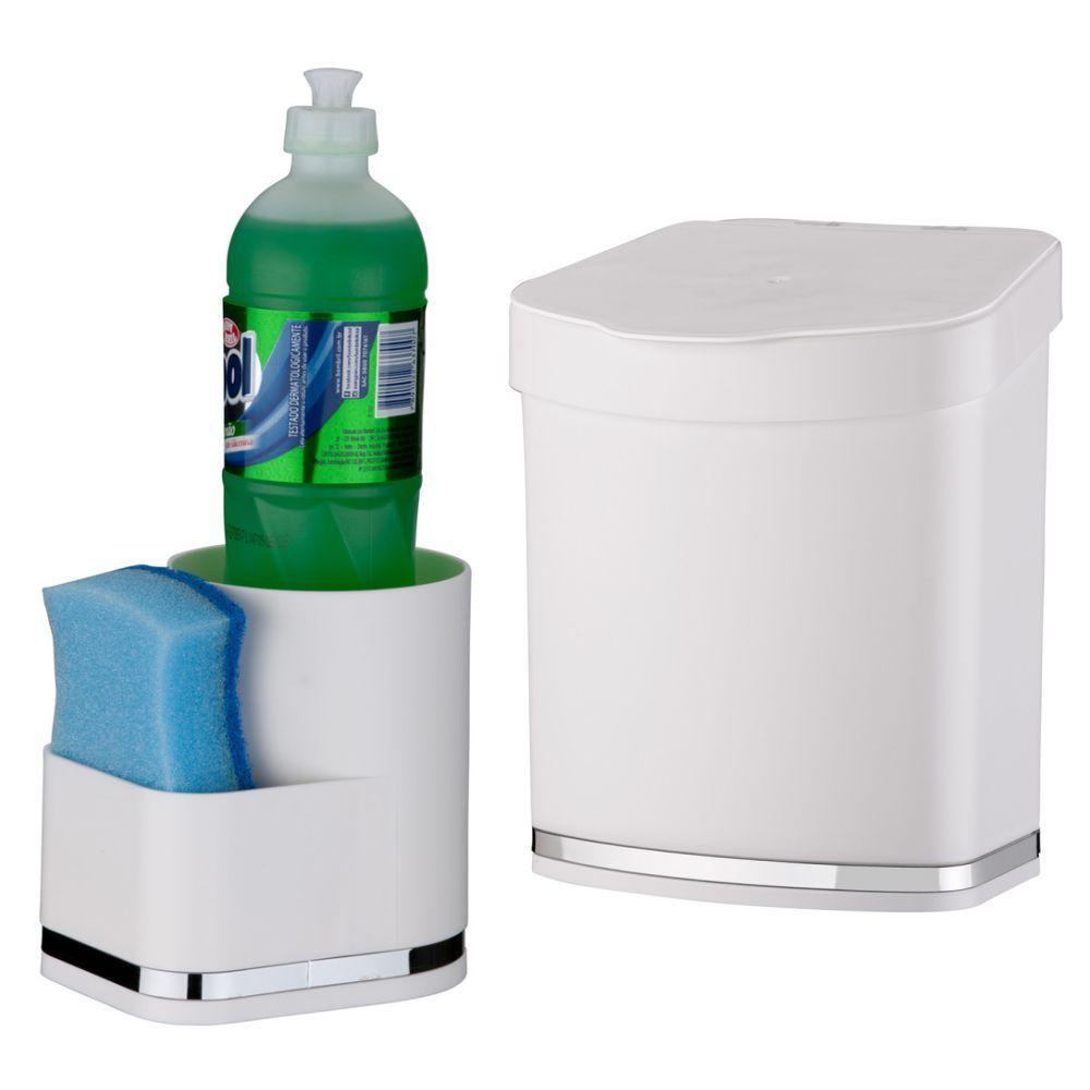 Lixeira 2,5 Litros Porta Detergente/Esponja Cozinha Eleganza