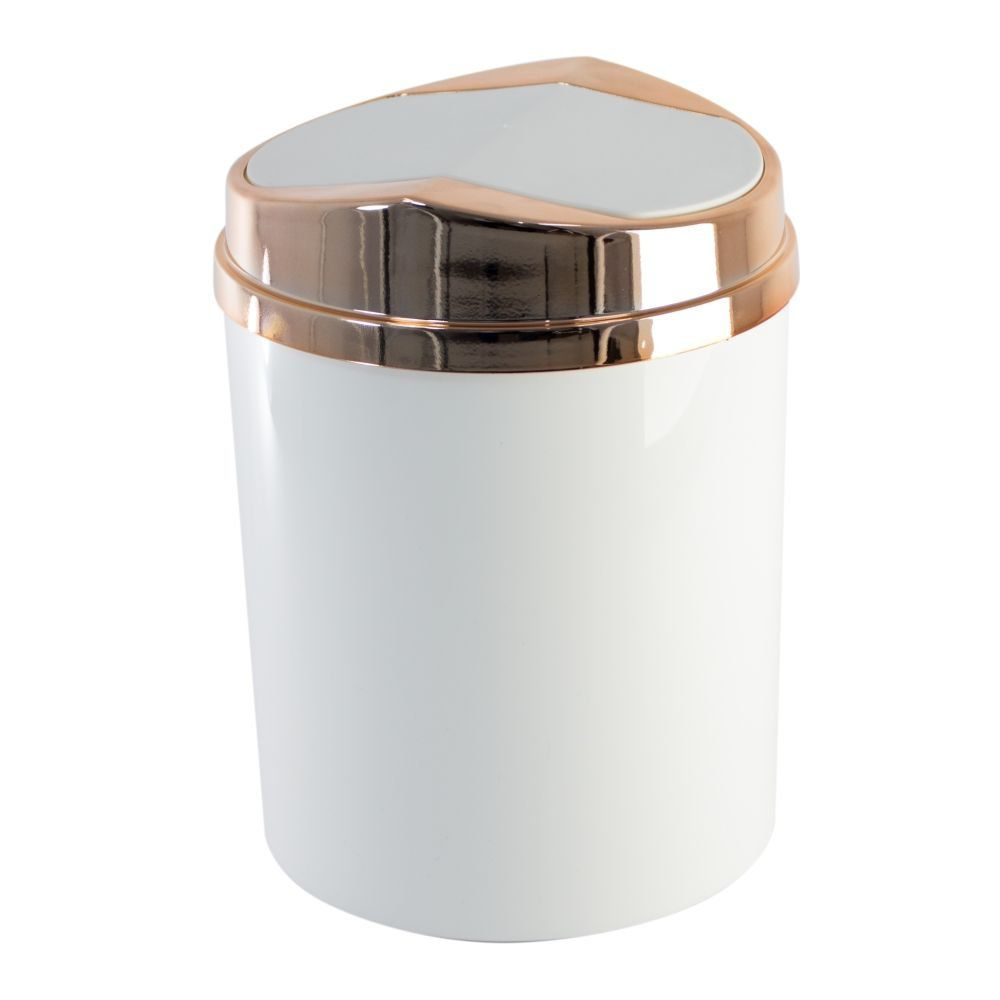 Lixeira 5 L Basculante Rosé Gold Suporte Escova Sanitária
