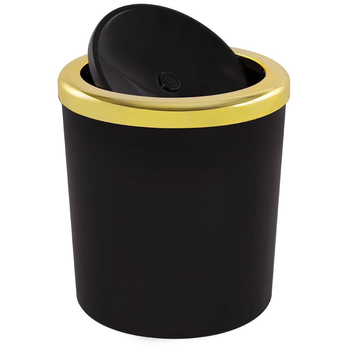 Lixeira 5 Litros Basculante Redonda Dourada Luxo Cozinha