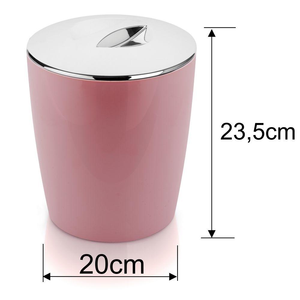 Lixeira 5 Litros Com Porta Escova Sanitária Banheiro - Rosa