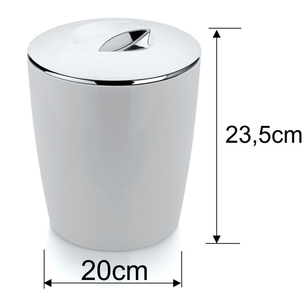 Lixeira Cromo Vitra Cozinha Banheiro 5L Branca