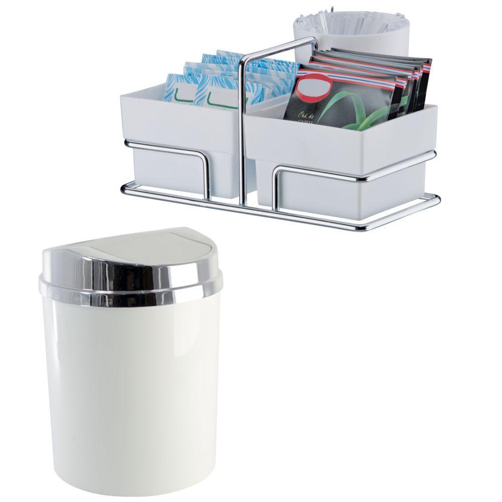 Lixeira Basculante 5 Litros + Porta Sachês/Mexedores