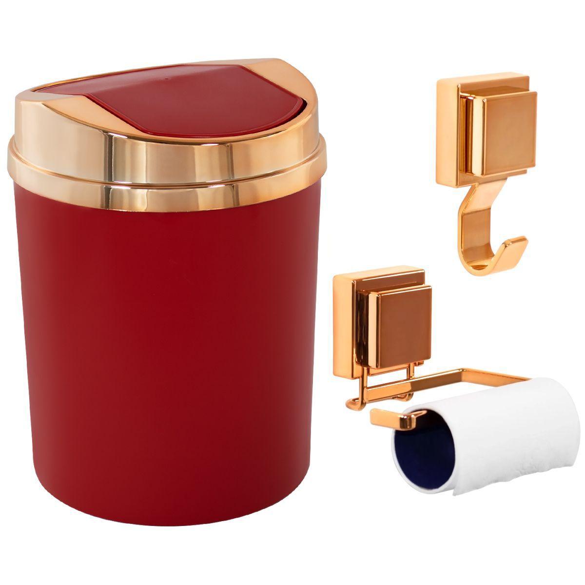 Lixeira Basculante Papeleira Gancho Multiuso Rosé Gold