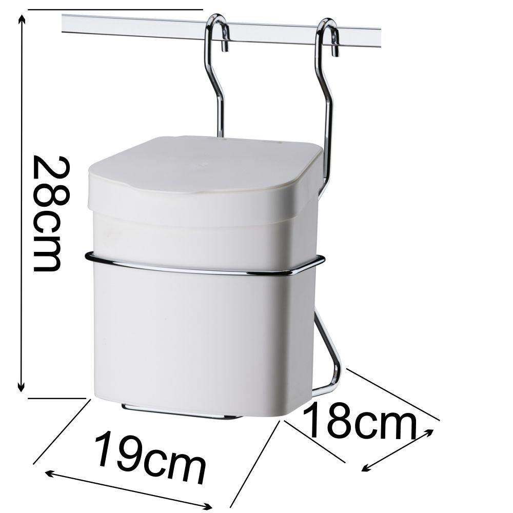 Lixeira Branca 2,5 L com Suporte + Saleiro Branco + Barra Aço 80 cm