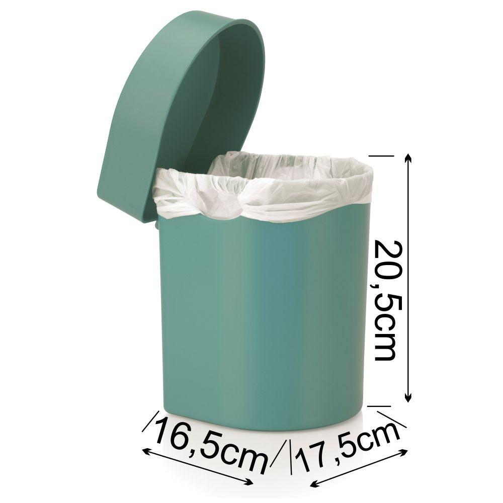 Lixeira Para Cozinha Bancada e Banheiro 3,5 Litros Verde