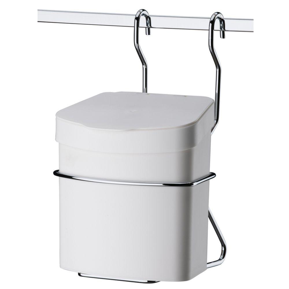 Lixeira Para Barra de Cozinha+ Saleiro Branco Com Suporte