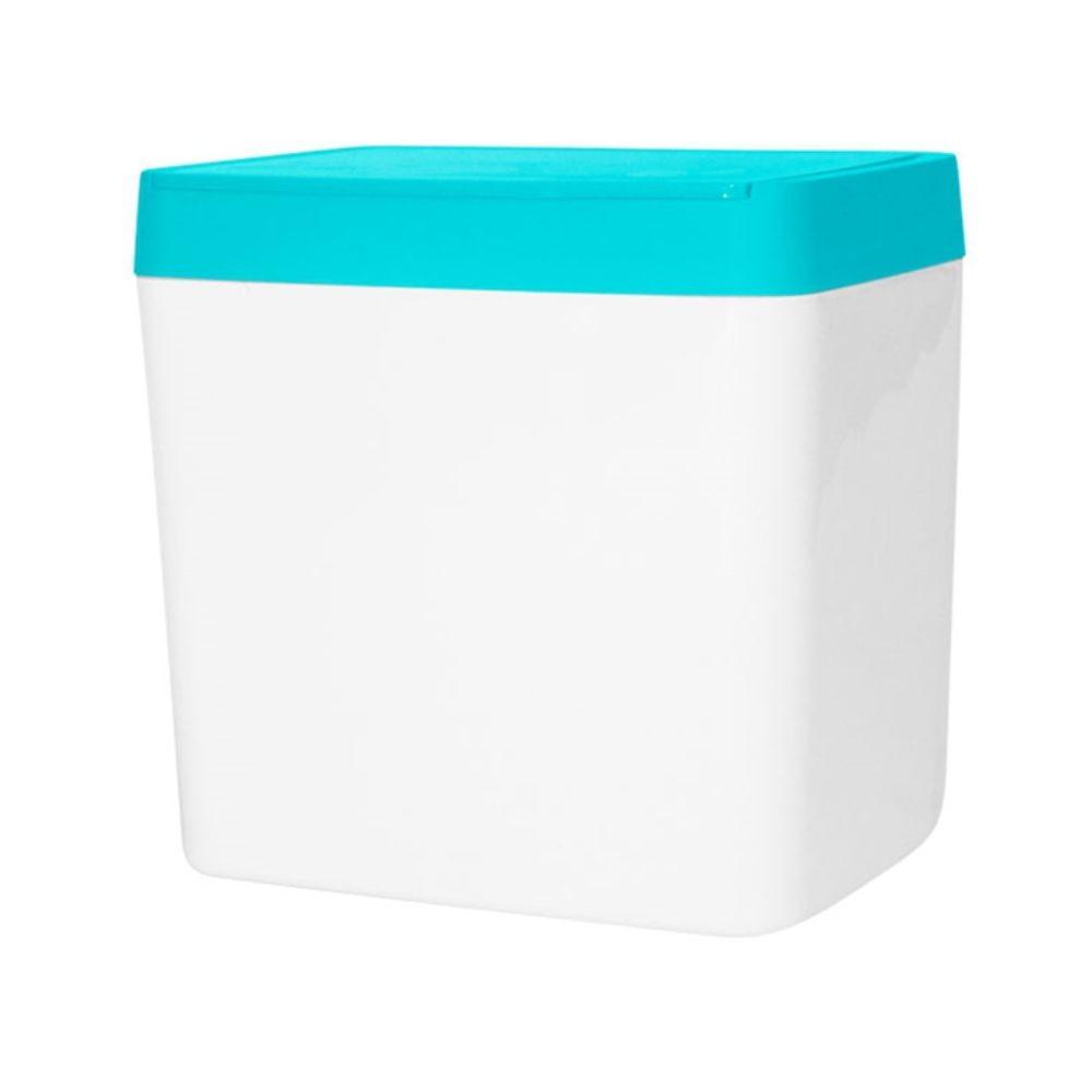 Lixeira Para Pia 5 Litros - Branco/Azul Turquesa