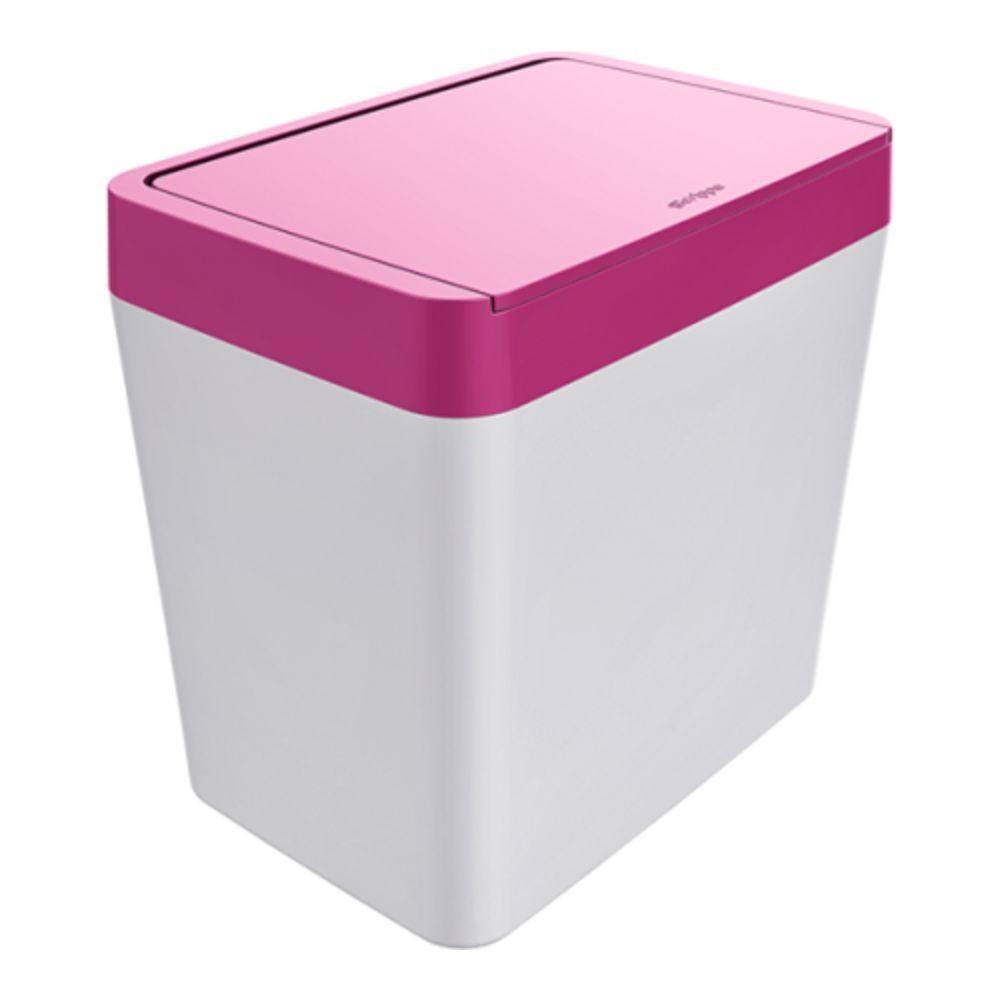 Lixeira Para Pia 5 Litros - Branco/Rosa