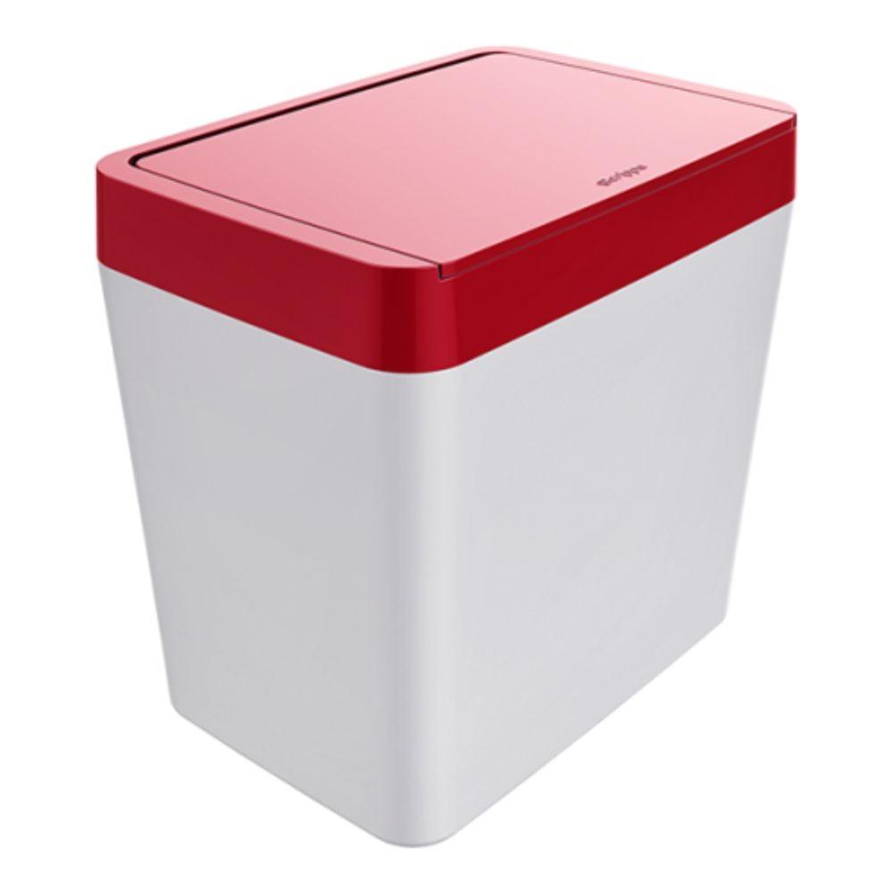 Lixeira Para Pia 5 Litros - Branco/Vermelho