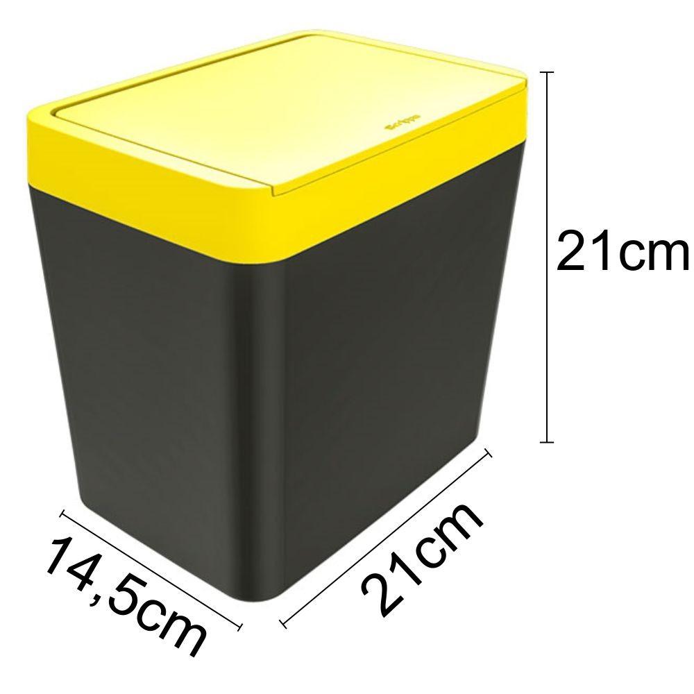 Lixeira Para Pia 5 Litros - Chumbo/Amarelo