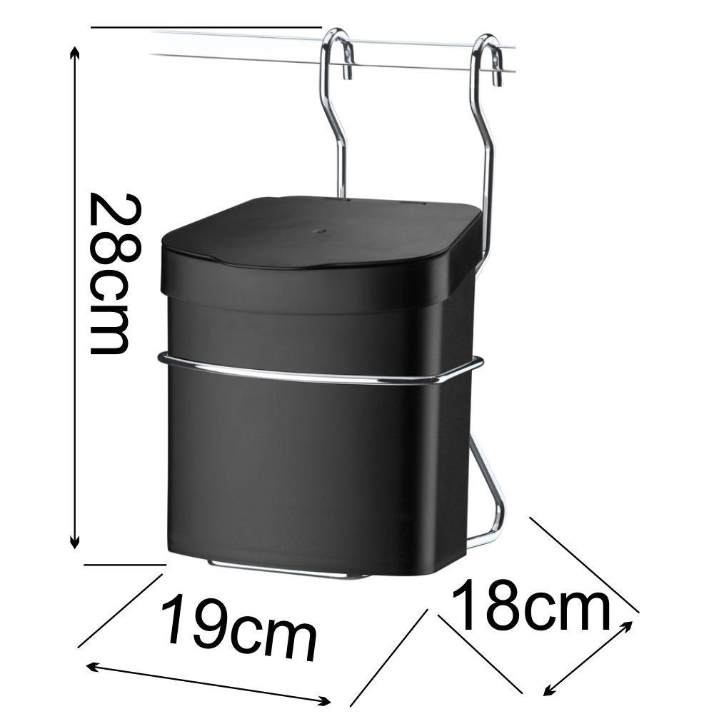 Lixeira Preta 2,5 L com Suporte + Saleiro Preto + Barra Aço 60 cm
