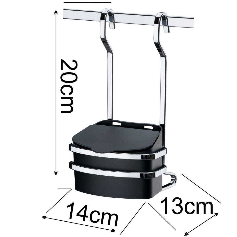 Lixeira Preta com Suporte 2,5 L + Saleiro Preto + Barra Aço 80 cm