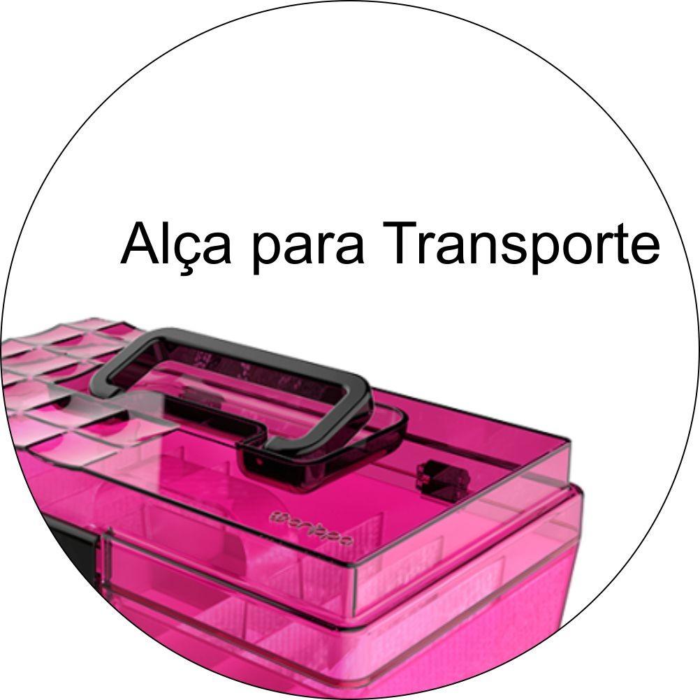 Maleta Organizadora Com Divisórias Maquiagem - Rosa/Preto