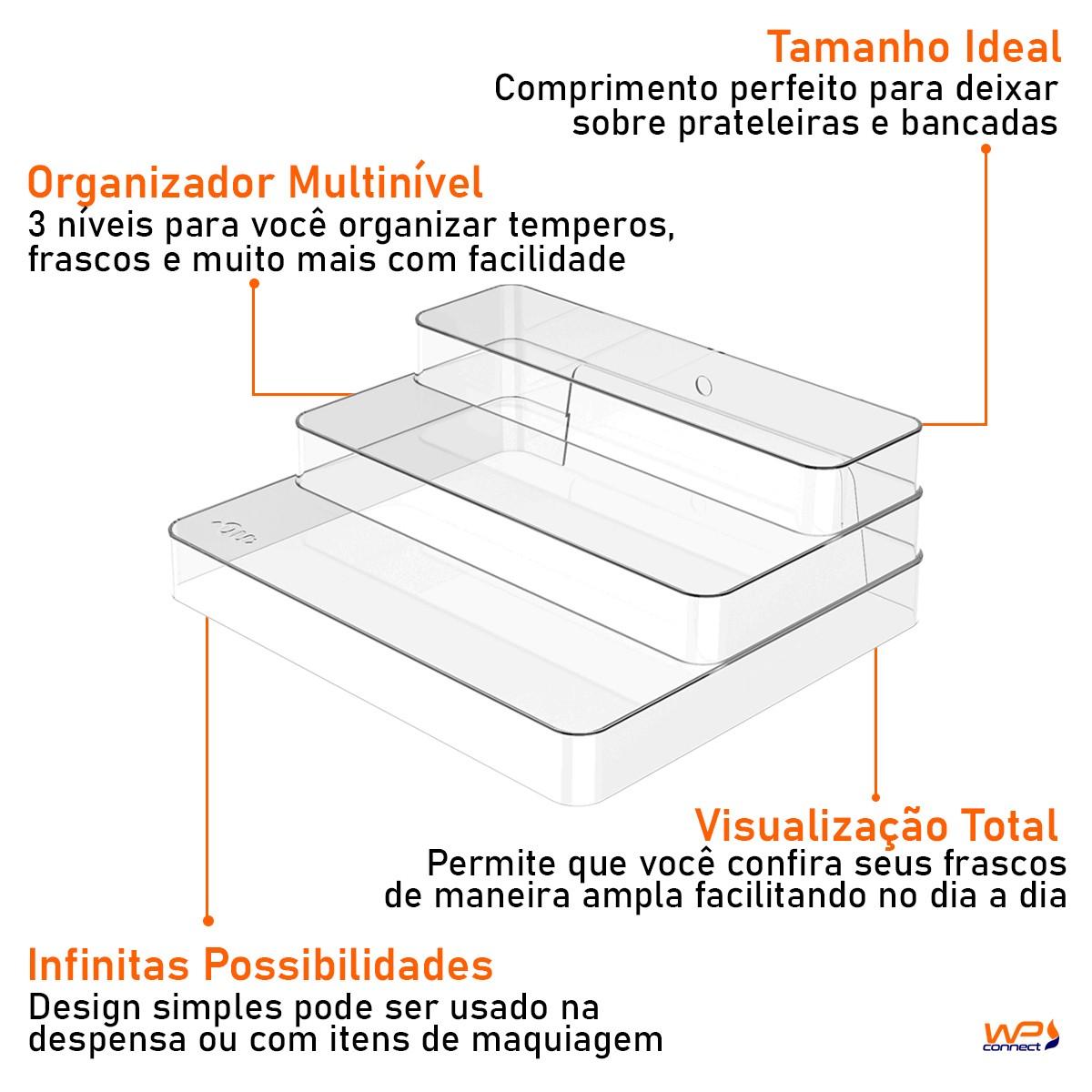 Organizador 3 Níveis para Armário 29x25x10,3cm Acrílico