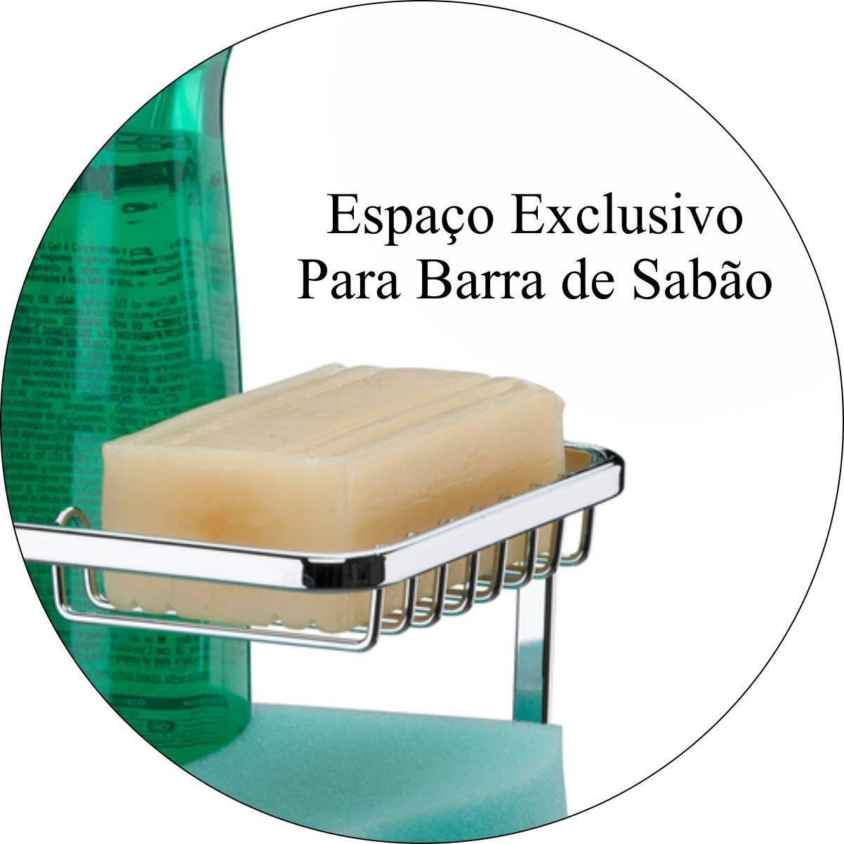 Organizador De Louça Sabão, Detergente E Esponja Para Barra De Cozinha - Aço Cromado