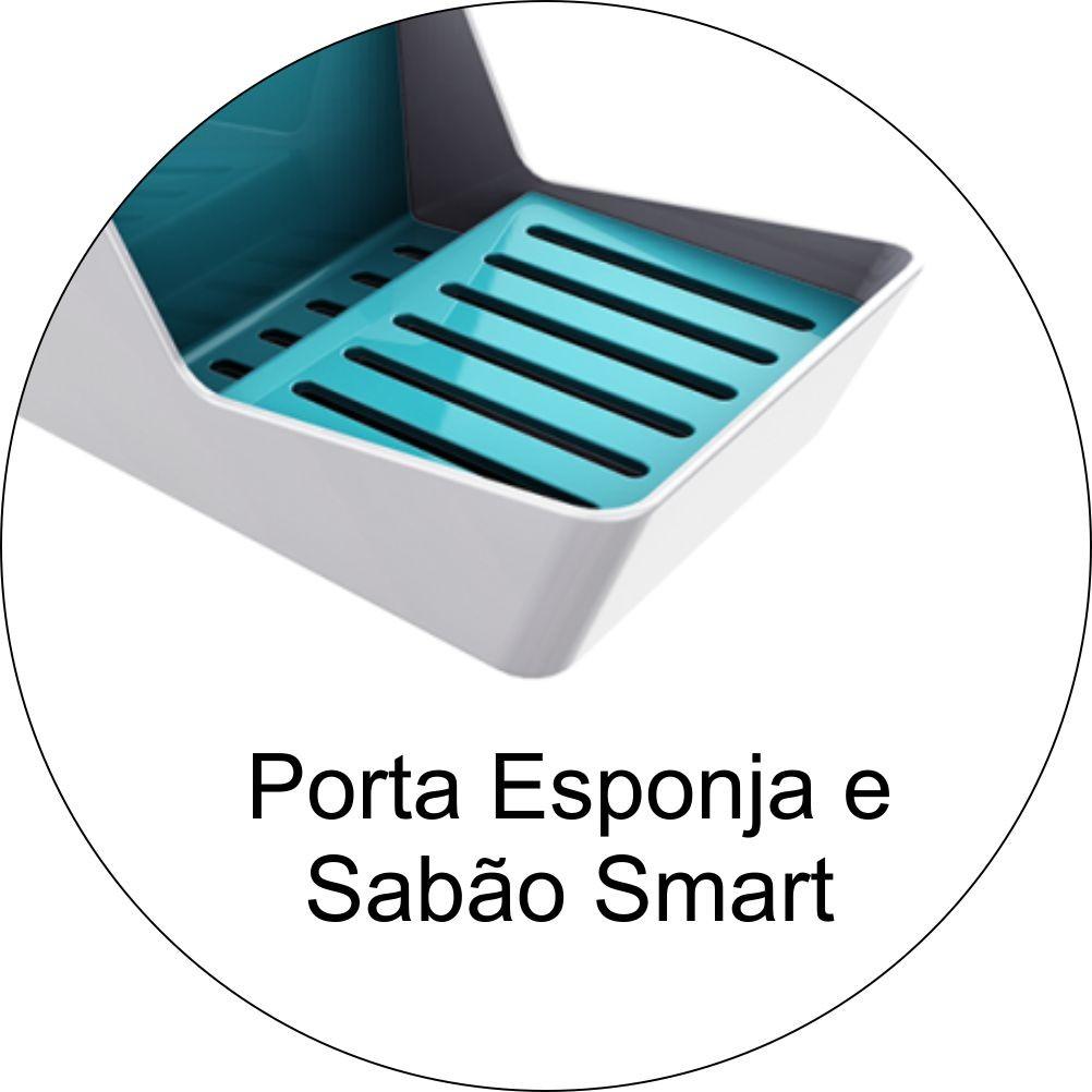 Organizador de Pia Com Porta Detergente Branco/Azul Turquesa